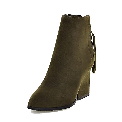 Closed Zipper Heels Toe Solid Boots Frosted WeenFashion Armygreen Pointed High Women's wqRExX8