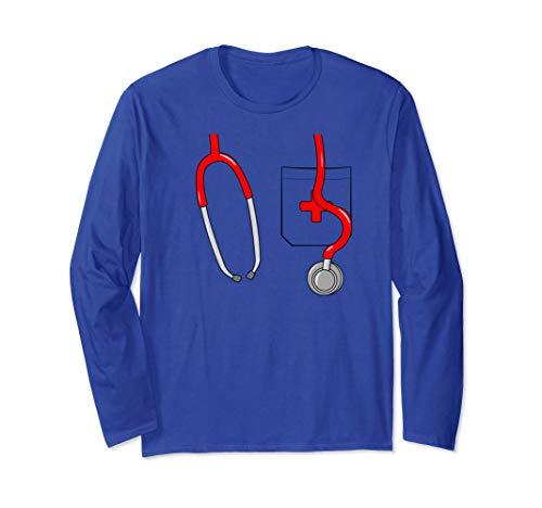 Halloween Nurse Costume Doctor Uniform with Stethoscope  Long Sleeve T-Shirt