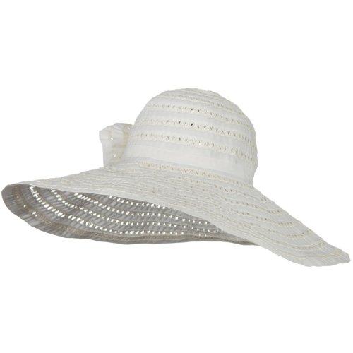Jeanne Simmons Ribbon Toyo Braid Wide Brim Flower Self Tie Hat - - Hat Wide Braid Toyo