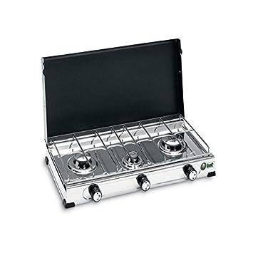 BST Elegance 2013 Hornillo de gas LPG 3 Fuegos, de acero inoxidable con tapa 4 kW: Amazon.es: Hogar