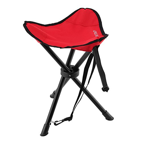 Folding Tripod Stool, OUTAD Portable Travel Chair Tri-Leg Stool for Outdoor Camping/Fishing/Hiking/Mountaineering (Upgraded Version Red) - Folding Wooden Camp Chair