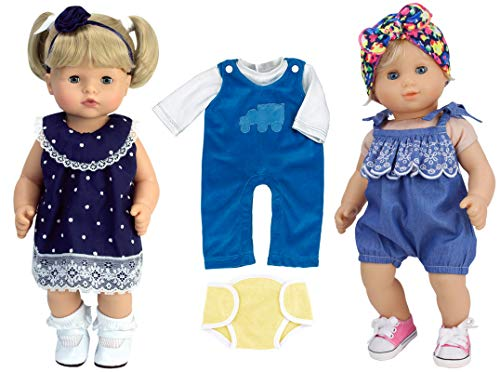 White Lace Doll Panties - Sophia's 15 Inch Doll Clothing Collection 8 Pieces Include Dress, Romper, Overalls, Diaper and More