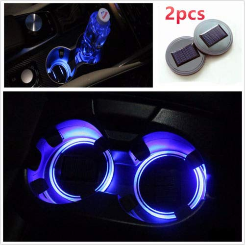 2 Piece Blue Solar Energy Cup Holder LED Insert Interior Car Light Lamp Kit ()