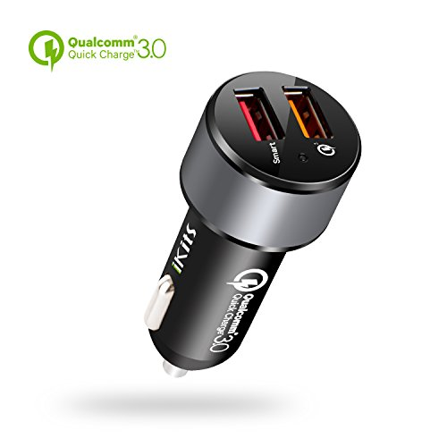 Quick Charge 3.0, iKits 30W Dual USB Car Charger, Portable Car Quick Charger, 5V/2.4A+QC3.0 for Samsung Galaxy S7/S6/Edge/Plus/Note 5/4, HTC, Smart Port for iPhone 7/iPad Pro/Air 2/mini and more