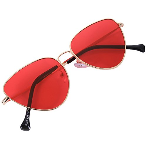 TOOGOO de ojo rojo sol moda de gafas de de de de reflexivas Rojo neutrales Gafas senora estilo verano gato retro S17011 rB4xr