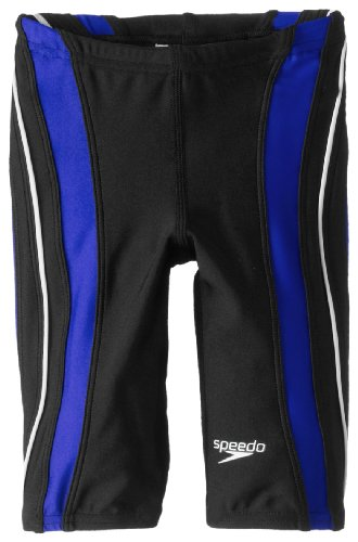 Speedo Big Boys' Youth Rapid Splice Jammer Swimsuit, Black/Blue, (Speedo Boys Swimsuit)