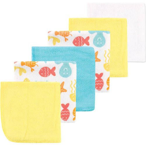 6 Piece Baby Yellow Fish Star Weave 9 X 9 Washcloth Set, Light Gold Light Blue Red Pink Octopus Sea Animal Design Knitted Adorable Soft Cozy Absorbent Stylish Modern Luxurious Towels, Cotton Blend