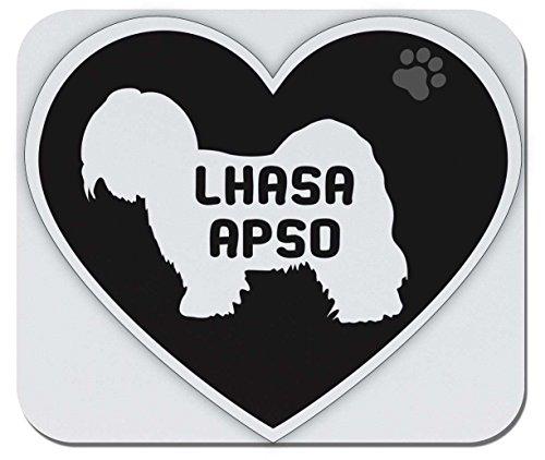 - Makoroni - Lhasa APSO Heart Shape - Non-Slip Rubber Mousepad, Gaming Office Mousepad