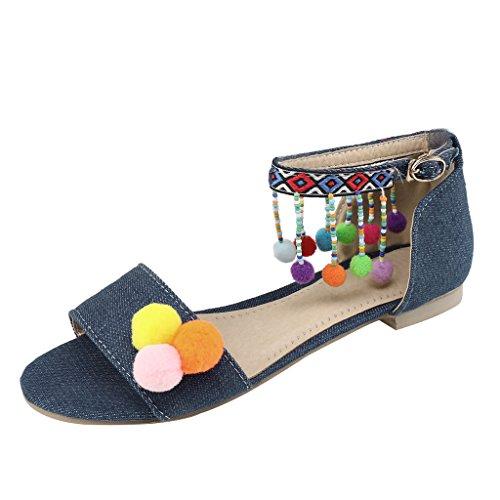 new product 44ca5 0e8fb Cher Temps Été Femmes Chaussures Denim Frange Bohème Pom Pom Sandale Plate  Bleu Foncé