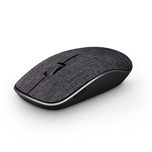 RAPOO 2.4G Ergonomic Wireless Portable Mobile Mouse Optical Mice with Soft fabric cover for Notebook,PC,Laptop,Computer,Macbook,Chromebook (Black) by Rapoo