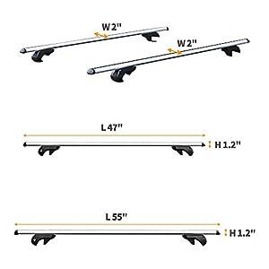 "Summates Universal Roof Top Cargo Rack Cross Bars-1Pair (55"" Cross Bar)"