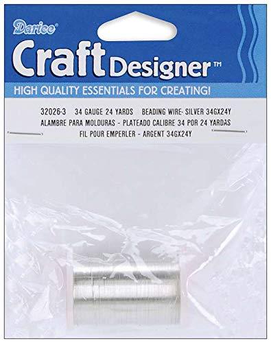 Bulk Buy: Darice DIY Crafts Beading Wire 34 Gauge Silver 24 yards (6-Pack) -