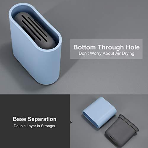WERFORU Toilettenbürste, praktischer TPR-Bürstenkopf WC Bürste, Keine Tote Ecke Klobürste, Toilettenreinigungsbürste mit Sockel, kein Halter, 1 Stück, blau