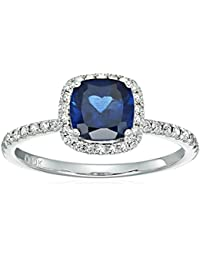 10k White Gold Created Blue Sapphire and Diamond Cushion Engagement Ring (1/4cttw, H-I Color, I1-I2 Clarity), Size 7