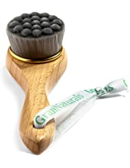 Manual Facial Cleansing Brush - Soft Bamboo Fibers - Skin Cleanser & Scrubber for Applying Face Mask, Acne Washing, Daily Deep Pore Cleaning - Men and Women