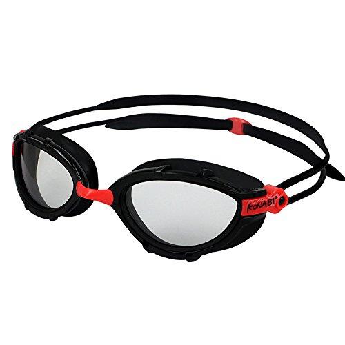 KONA81 Barracuda Swim Goggle K912 - Triathlon Photochromic Curved Lenses Wire Frame, Anti-fog UV Protection No Leaking Easy adjusting Comfortable for Adults Women ladies #91235(Black)