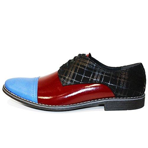 PeppeShoes Modello Flafi - Handmade Italiennes Cuir Pour des Hommes Bleu Chaussures Oxfords - Cuir de Vachette Cuir Souple - Lacer