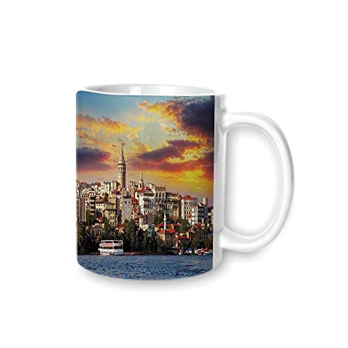 - Cityscape Practical Mark Cup,Istanbul at Sunset with the Sea Capital of Byzantine Old Roman Ancient Tower Print For Hold Water,Z(diameter)8.2G9.5