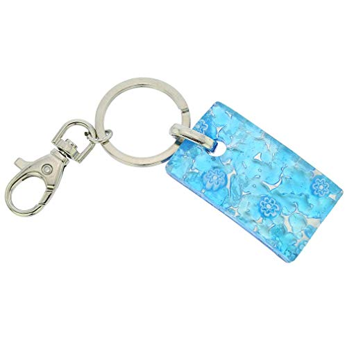 GlassOfVenice Murano Glass Colors Rectangular Keychain - Aqua Silver