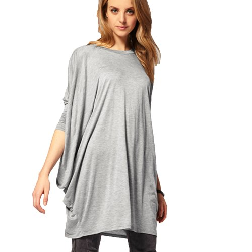 FINEJO Womens Rayon Jersey 3/4 Sleeve High low Tunic Top