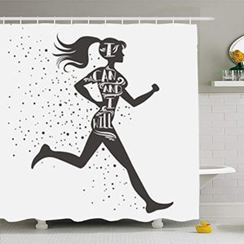 (ArtsDecor Shower Curtains 72 x 72 Inches Sport Fitness Typographic Running Girl I Can Will Motivational Inspirational Waterproof Fabric Bathroom Home Decor Set Hooks)