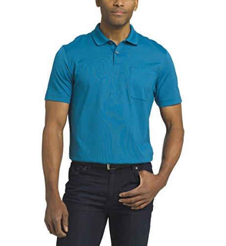 (Van Heusen Men's Short Sleeve Jacquard Stripe Polo Shirt, Tundra, Medium)