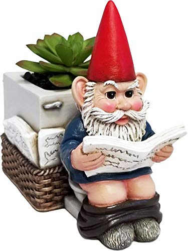 DWK – Serious Business – Gnome on Toilet Reading The Newspaper Garden Pot Planter Plant Container Whimsical Garden Accessory Patio Accent, 6.5-inch