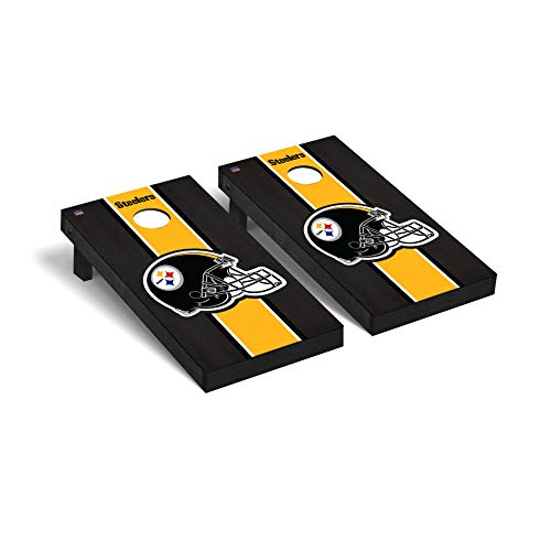 Pittsburgh Steelers NFL Football Regulation Cornhole Game Set Onyx Stained Stripe Version -  Victory Tailgate, 656564