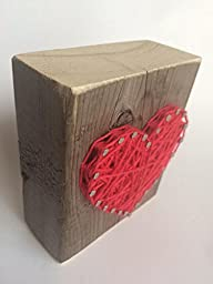 Sweet and small rustic string art hot pink wooden heart block - A unique gift for Mother\'s Day, Wedding favors, Anniversaries, Birthdays, Christmas, Valentine\'s Day, baby girls and just because.