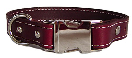 Auburn Leathercrafters Seneca Side Release Buckle Collar, Burgundy, 26 inches (24 inches to 26 inches)
