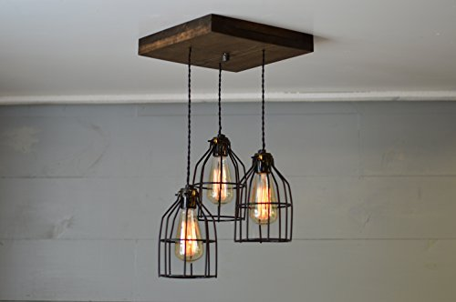 Old Elm Wood Multi Pendant Light (W/Black Cages) (Multi Pendant Light Fixture)