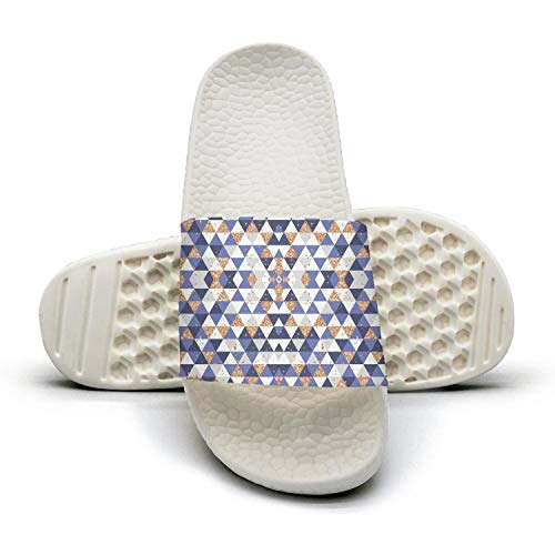 (Unisex Slides Sandals Gold and Blue Triangles Checkered Lattice Panels Water-Resistant Lightweight Custom Shower Slide Sandal)