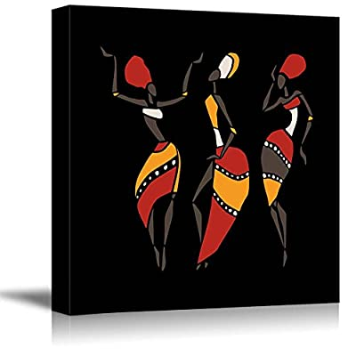 African Dancers Silhouette Set on Black Background - Canvas Art