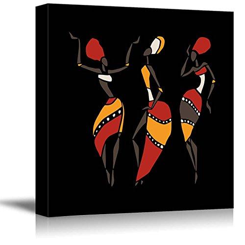 African Dancers Silhouette Set on Black Background