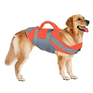 SUNFURA Pet Life Jackets, Summer Dog Float Coat with Reflective Strips and Rescue Handle, Adjustable Ripstop Pet Life Vest for Small, Medium, Large Dogs