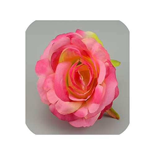 30pcst 9cm Large Silk Blooming Roses Artificial Flower Head for Wedding Decoration Wreath,Gradient Pink
