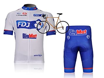90b76c185 Image Unavailable. Image not available for. Colour  New Design Mens Cycling  Wear Suit FDJ Cycling Jersey Set ...