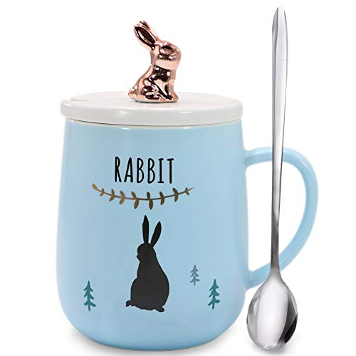 Sunddo Cute Rabbit Mug Animal Morning Mug Office Porcelain Bunny Tea Coffee Milk Ceramic Cup with Lid and Spoon - Christmas Gift Birthday Gift for Women Girls Lady Rose Gold Blue 14 OZ