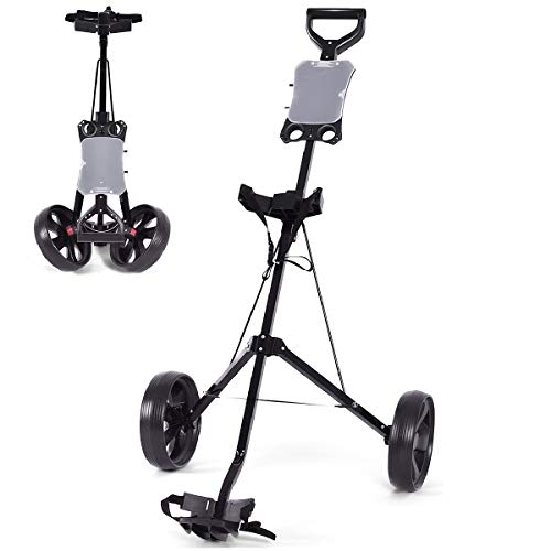 GYMAX Golf Cart 2 Wheel Foldable Push Pull Golf Trolley Lightweight Compact...