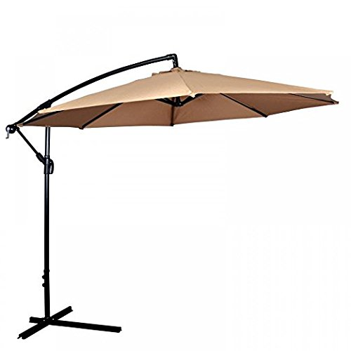 MR Direct Patio Umbrella Offset 10′ Hanging Umbrella Outdoor Market Umbrella D10 (Tan)