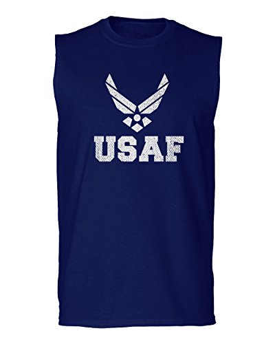 Logo Muscle Shirts (Vintage USAF United States Air Force Logo Seal USA American America Men's Muscle Tank Top Sleeveless t Shirt (Navy Small))
