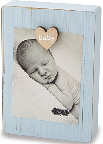 Mud Pie Blue Baby Boy Magnetic Heart Clip Wood 3