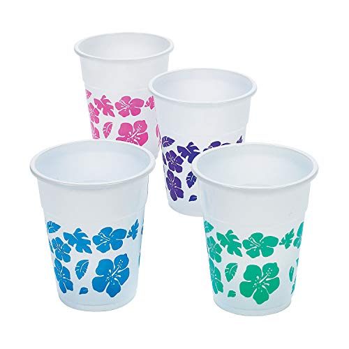 Fun Express 50 Plastic Hibiscus Drink Cups Luau Party Decor/Tropical Beverage Novelty, 16 oz, Assorted Colors -