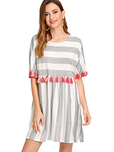 Tassel Trim Fringe 3 - Floerns Women's Short Sleeve Tunics Fringe Trim Striped Dress White L