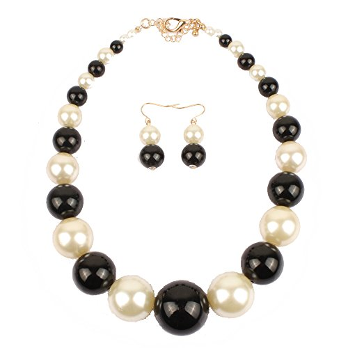 Black And White Costume Jewellery (Nowyi Women's Vintage Black White Faux Pearls Strands Bib Necklace Choker Short with Earrings Fashion Elegant Costume Jewelry Sets)