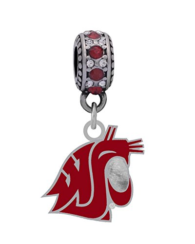 Washington State University Logo Charm Fits European Style Large Hole Bead Bracelets