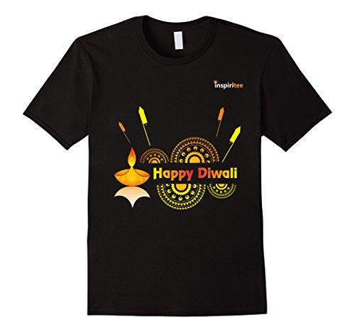 Mens Inspiritee - Happy Diwali - T Shirt 3 XL Black by Inspiritee