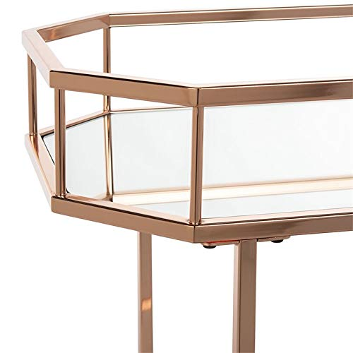 Safavieh BCT8004A Silva Bar Cart, Rose Gold/Mirror by Safavieh (Image #4)
