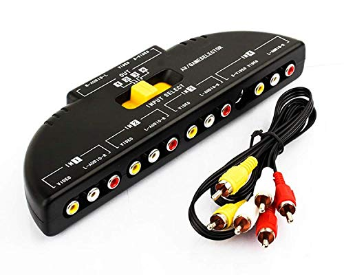 - ANRANK RS4010AK 4-Way Audio Video AV RCA Switch Game Selector Box Splitter Black