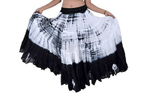 25 Yard Yards Tribal Gypsy algodón vientre danza de la danza de la falda ATS L36inch - TIE DYE DESIGN BLANCO NEGRO